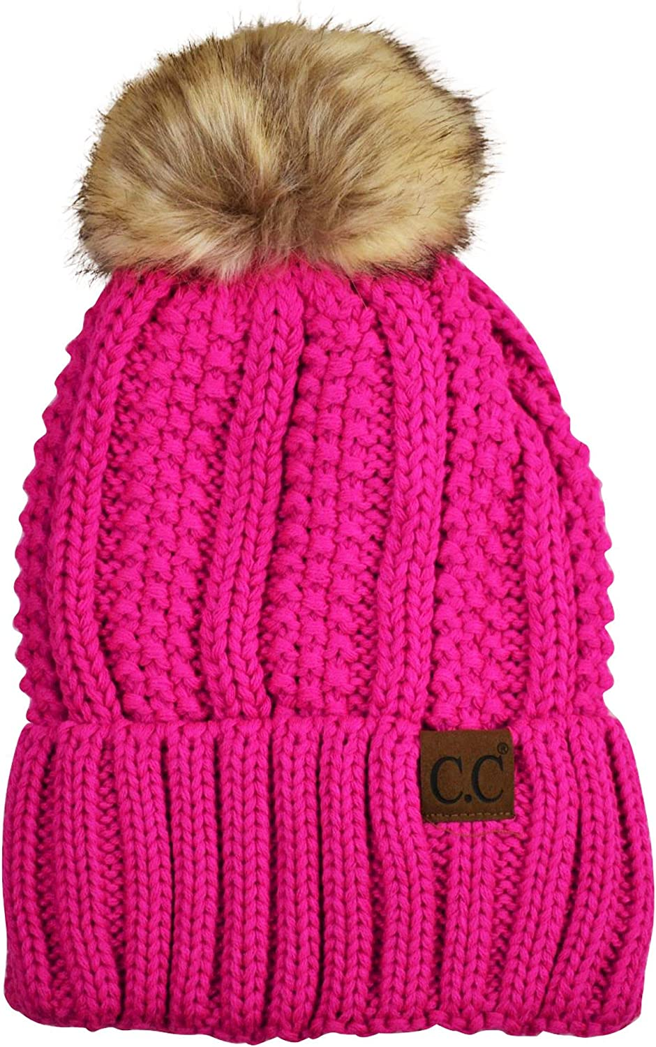 C.C Thick Cable Max 77% OFF Knit Spring new work one after another Faux Fuzzy Fur Pom C Fleece Skull Lined Cap