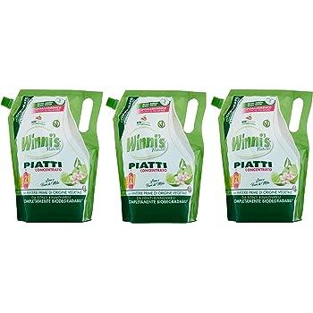 3x Winni's Naturel Detergente Piatti Concentrato Ecoricarica Lime - da 1 L ciascuno