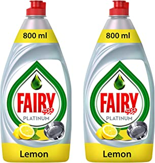 Fairy Platinum Lemon Dish Washing Liquid Soap 800 ml, Dual Pack, Special Offer