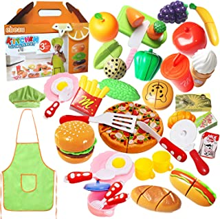 Play Food Set for Kids 40Pcs Pretend Cutting Fruits Food Playset Kitchen Cooking Sets Toys for Educational Learning Fake Plastic Foods for Toddlers Kids Girls Boys Inspiring Imagination with Apron Hat