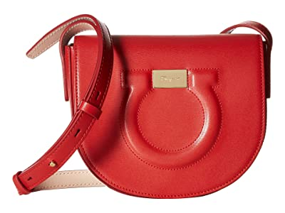 Salvatore Ferragamo Gancio City Crossbody (Lipstick/New Bisque) Handbags