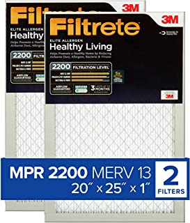 Best Filtrete 20x25x1, AC Furnace Air Filter, MPR 2200, Healthy Living Elite Allergen, 2-Pack (exact dimensions 19.69 x 24.69 x 0.78) Review