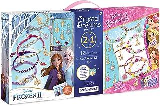 Make It Real - Disney Crystal Dreams Mega Set 2 in 1 Princess + Frozen 2 - DIY Bead & Charm Bracelet Making Kit - Kids Jew...