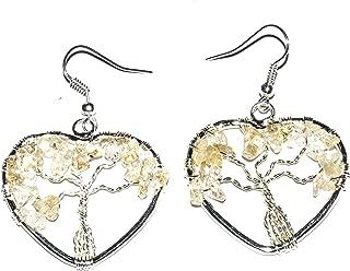 Crocon Citrine Tree of Life Heart Shape Earings for Reiki Healing Spiritual Gift Crystal Healing