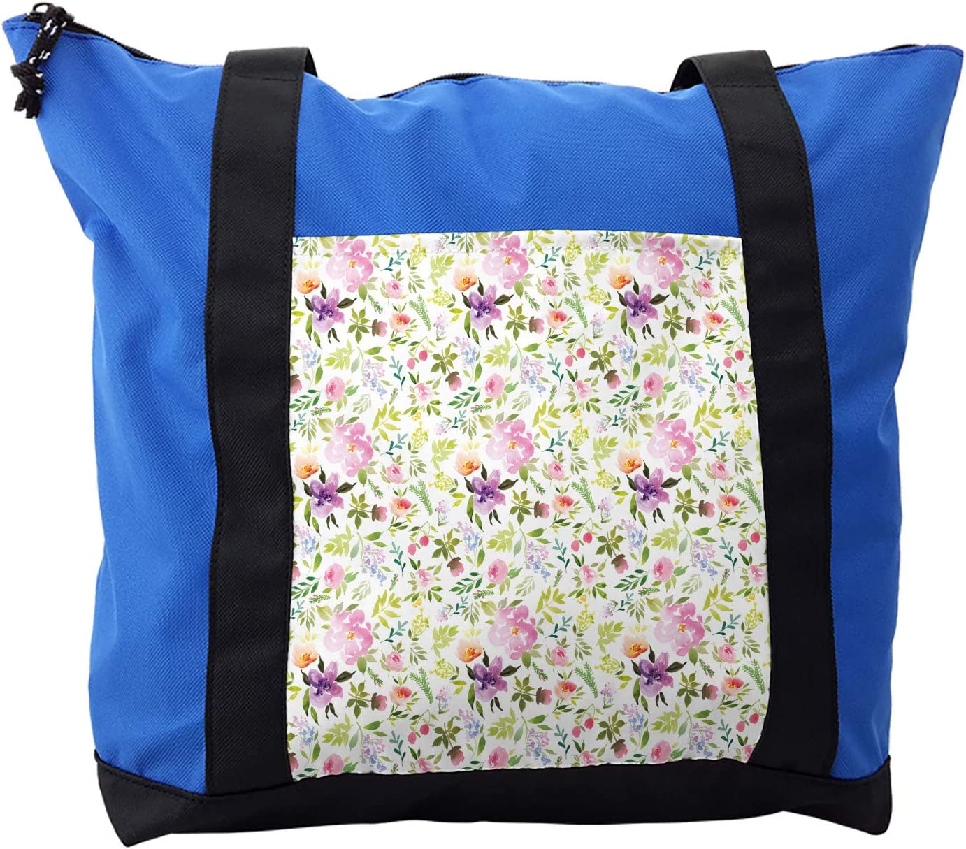 Ambesonne Watercolor Shoulder Bag, Gentle Spring Floral, Durable with Zipper