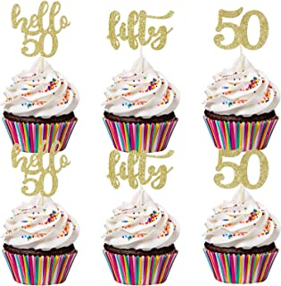 24Pcs Gold Glittery Fifty Hello 50 50 Cupcake Toppers- 50th Birthday Party Decorations,50th Birthday Cake Topper Decor,50t...