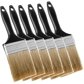 KINJOEK Paint Brush 6 Packs 3 Inch, Home Wall Trim House Chip Paintbrush Set, Professional Multi-Purpose Home Repair Tools for DIY Paint Stains Varnishes Glues Acrylics Cabinet Deck Fence Edge Door