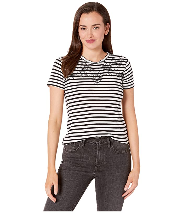 Lucky Brand  Stripe Embroidered Tee (Black Multi) Womens Clothing