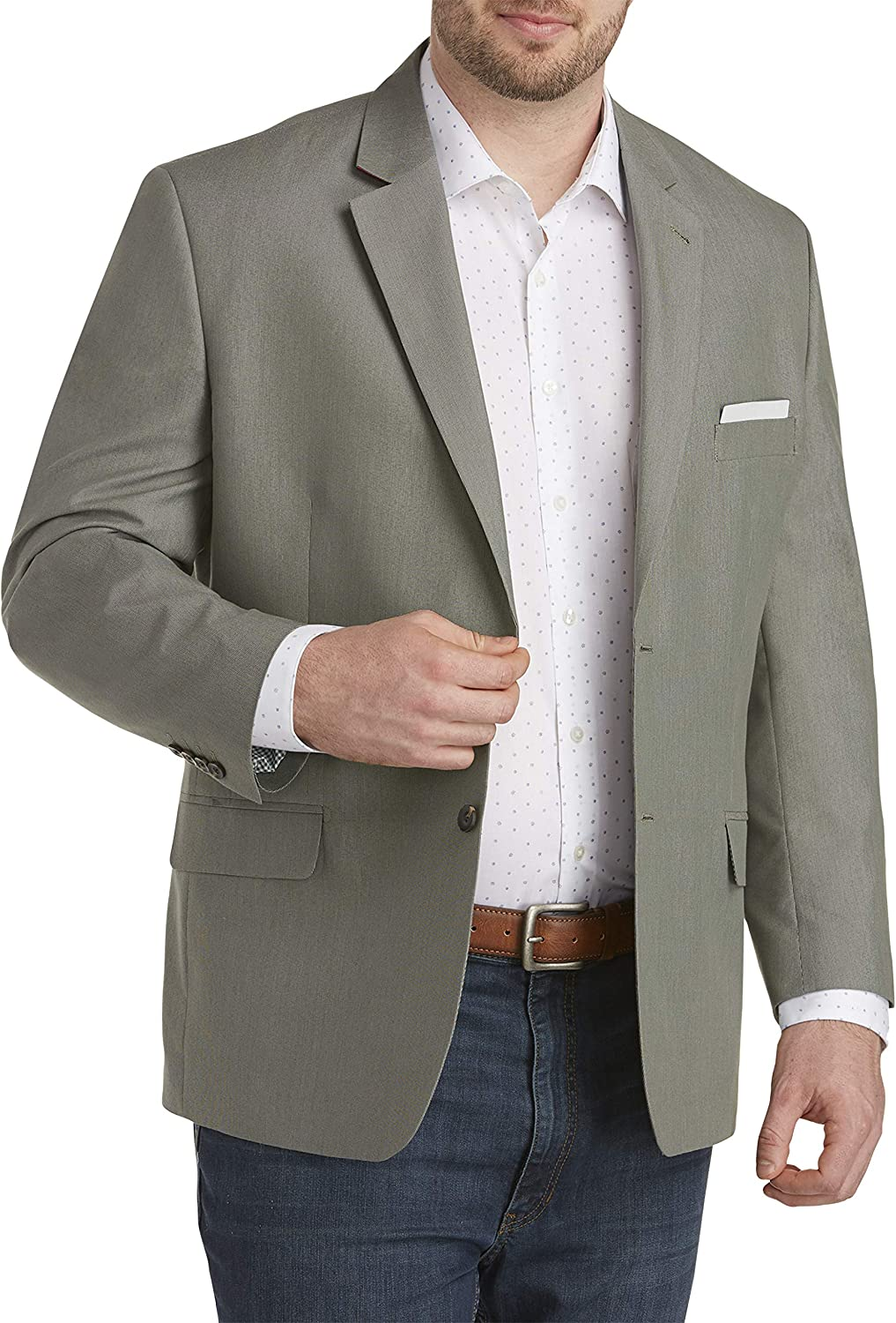 DXL Synrgy Big and Tall Jacket-Relaxer Tic-Weave Performance Sport Coat, Green