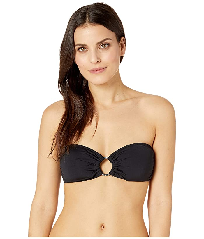 MICHAEL Michael Kors Iconic Solids Logo Ring Bandeau Top (Black) Women