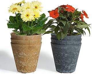 T4U 14cm植木鉢 プランター プラスチック製 アートストーン 6個入り 底穴付き 観葉植物 ハーブ アロエ 種まき 花栽培適用 屋内屋外 飾り ギフト