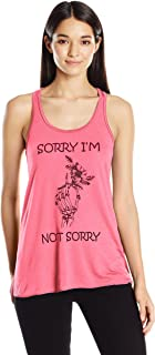 Clementine Women's Ladies' Hand Bones with Sorry Quote Printed Flowy Racerback Tank