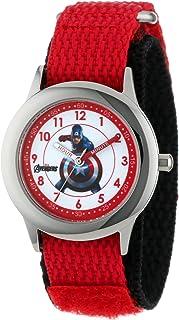 Marvel Kids' W000303 Marvel Avenger Kid's Stainless Steel Time Teacher Red Velcro Strap Watch