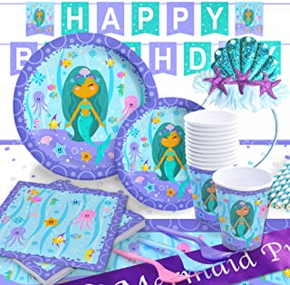 Mermaid Party Supply Set with BONUS Birthday Headband and Mermaid Princess Sash | Decorations and Tableware | Disposable for Easy Cleanup | Serves 16 | by Pippin Products …