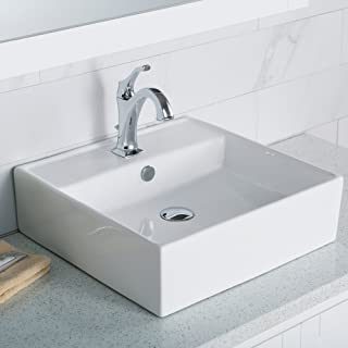 KRAUS KCV-150 Elavo Bathroom Vessel Ceramic Sink, 18.5, White