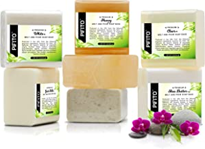 Pifito Melt and Pour Soap Base Sampler (7 lbs) │ Assortment of 7 Bases (1lb ea) │ Clear, White, Goats Milk, Shea Butter, O...