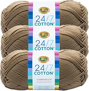 Lion Brand 24/7 Cotton Yarn 761-122 Taupe (3 Pack)