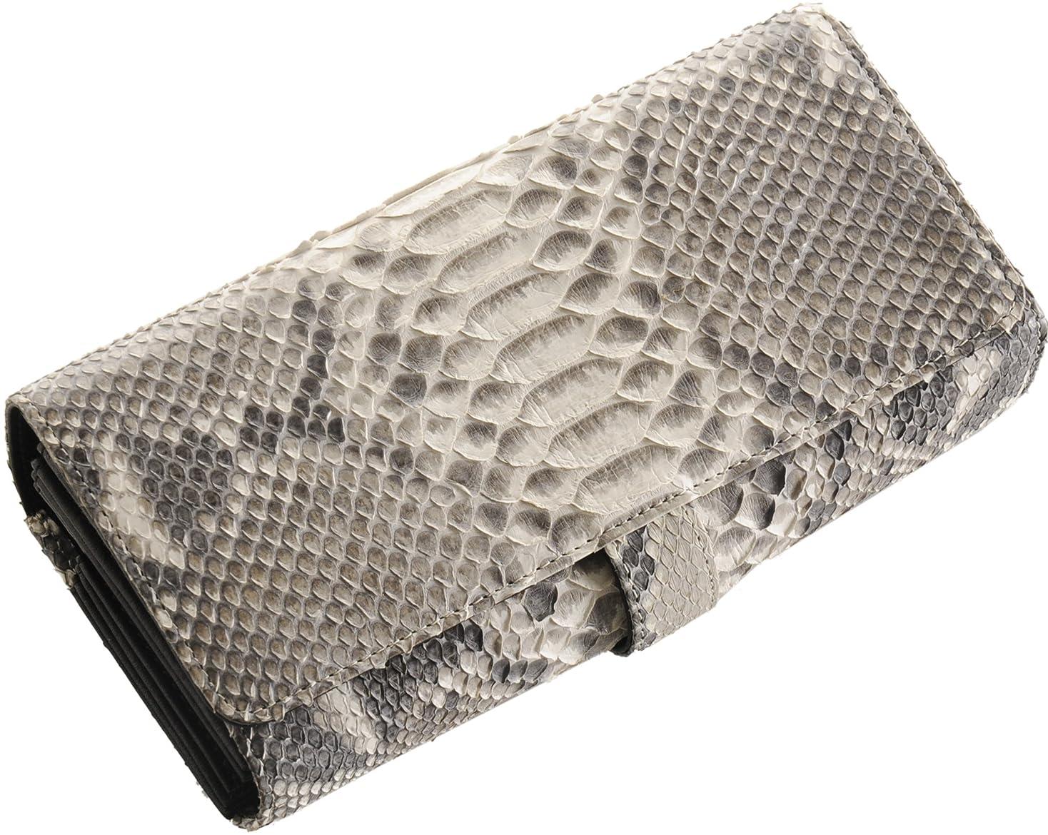 パン屋光のチラチラするヘビ ダイヤモンド パイソン レザー 多機能 長財布 フラップ かぶせタイプ 蛇革 レディース