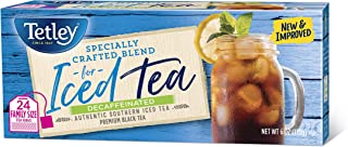 Tetley Black Tea, Decaffeinated Iced Tea Blend, Family Size, 24 Square Tea Bags (Pack of 6) (Packaging may vary)
