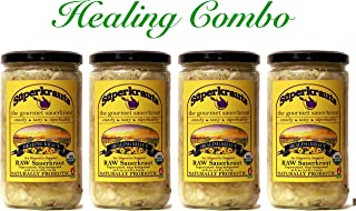 Healing Kraut Combo - Healing Sauerkraut for digestive support: organic, raw fermented, unpasteurized, probiotic, kosher, vegan and gluten free. 24 fl. oz. No shipping charges with minimum