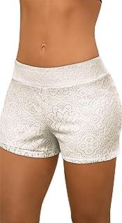 Hybrid & Company Womens Casual Floral Print Tassles Crochet Lace Shorts