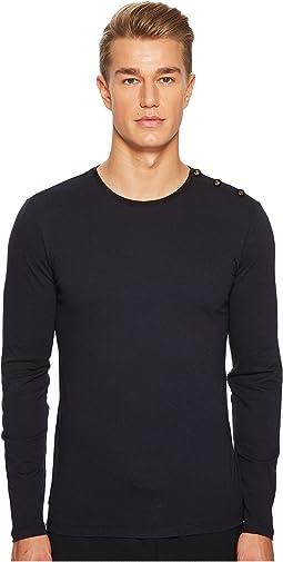 Long Sleeved T-Shirt with Velvet Trim