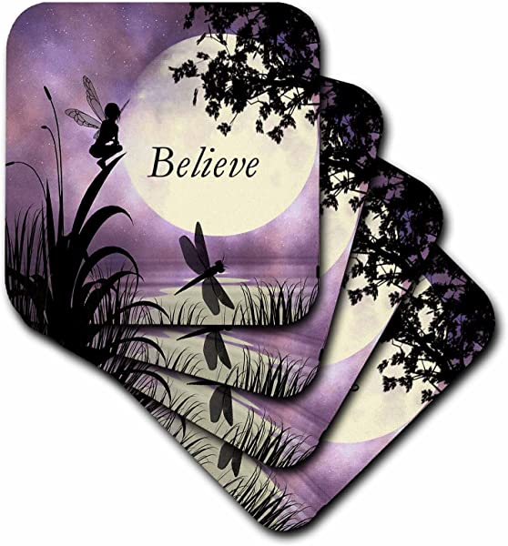 3dRose CST 35696 1 Believe Fairy With Dragonflies With Moon And Purple Sky Soft Coasters Set Of 4