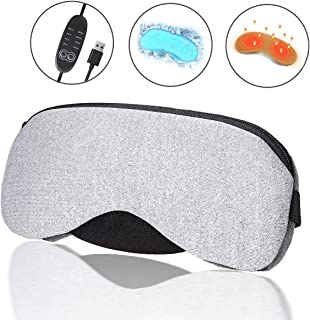 Portable Cold and Hot USB Heated Steam Eye Mask + Reusable Ice Gels for Sleeping, Eye Puffiness, Dry Eye, Tired Eyes, and Eye Bag with Time and Temperature Control, Best Mother's Day Gift