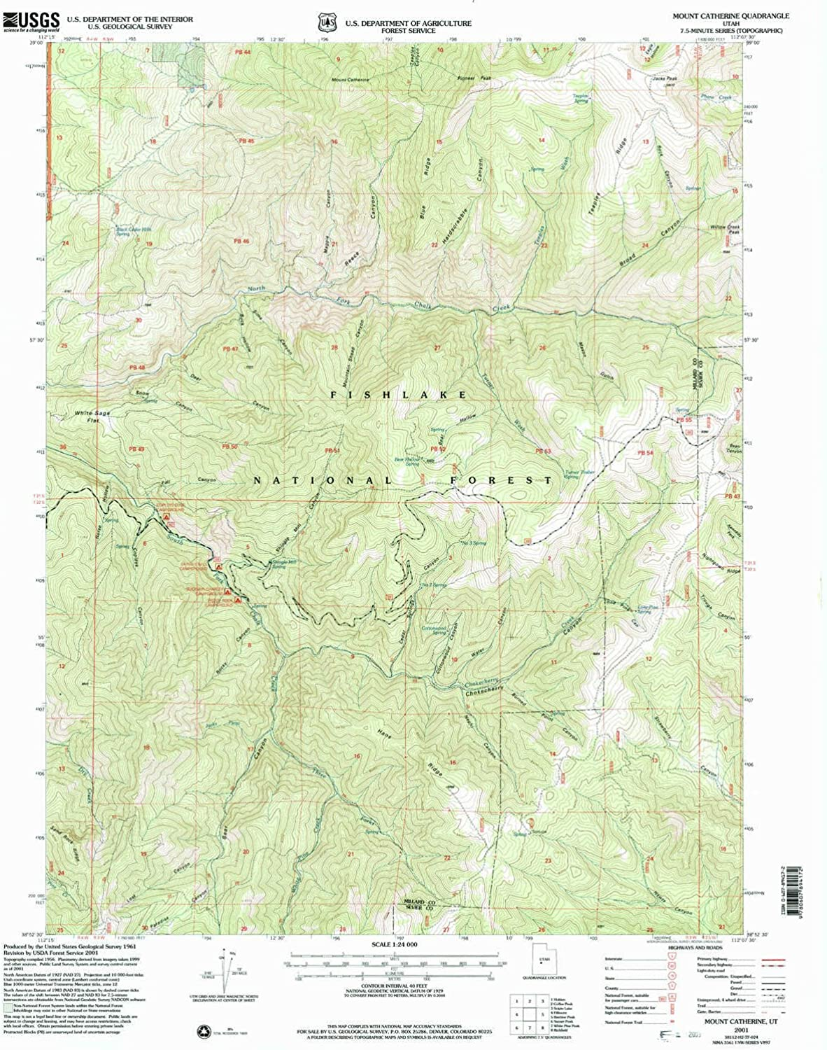 Mount Catherine UT topo map, 1 24000 Scale, 7.5 X 7.5 Minute, Historical, 2001, Updated 2003, 26.7 x 21.8 in