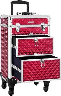 SONGMICS Valise de maquillage ABS Rouge 34 x 27 x 57 cm JHZ08RD Neceser de Viaje 57 Centimeters Rojo (Rouge)