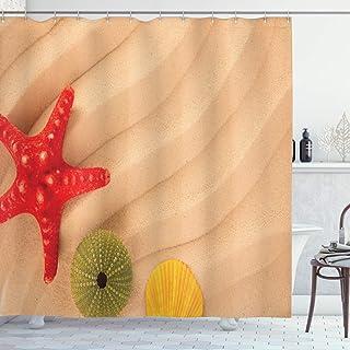 ABAKUHAUS Colorful Shower Curtain, Exotic Caribbean Beach, Cloth Fabric Bathroom Decor Set with Hooks, 175 cm x 220 cm, Sa...