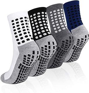 Emooqi, Calcetines deportivos antideslizantes, 2 pares de calcetines de fútbol para hombre