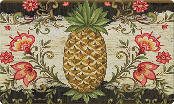 Toland Home Garden Pineapple And Scrolls 18 X 30 Inch Decorative Floor Mat Classic Fruit Design Flower Pattern Doormat