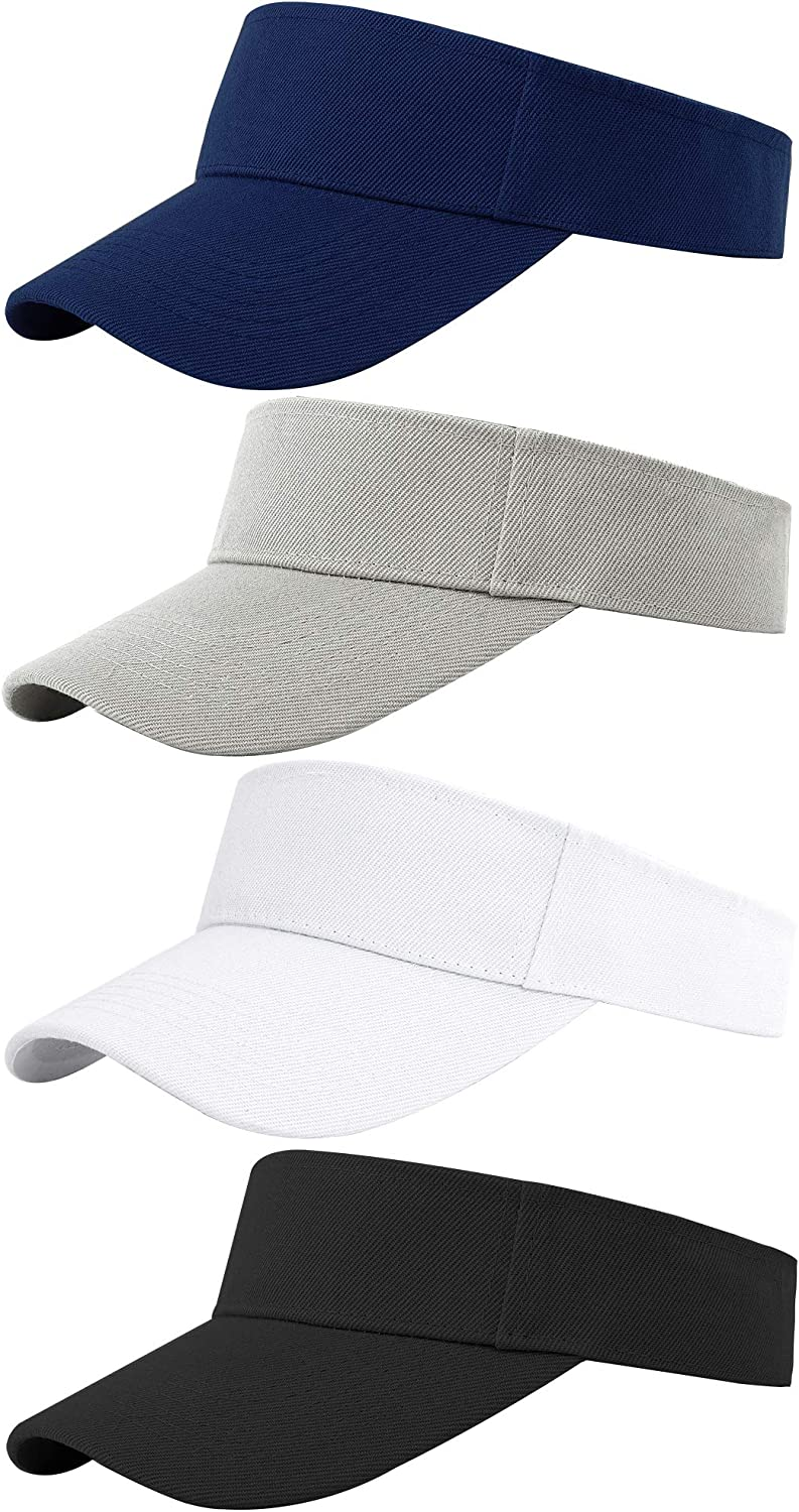 Cooraby 4 Pack Translated Sports Visor Hats Adjustable One Cap Size Max 82% OFF Outdoor