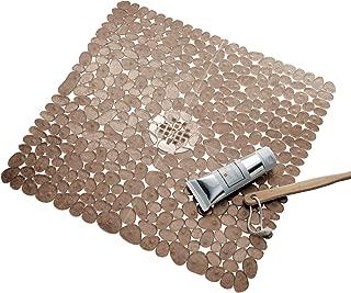 iDesign Pebblz Plastic Suction Non-Slip Bath Mat for Shower, Bathtub, Stall, 22
