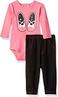 BON BEBE Baby Girls` 2 Piece Longsleeve Rear Snap Bodysuit and Denim Pant Set