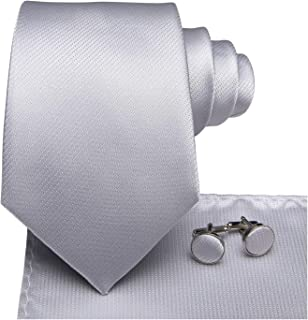 Hi-Tie Pure Color Necktie Solid Tie Pocket Square Cufflinks Set Wedding Ties Gift Box
