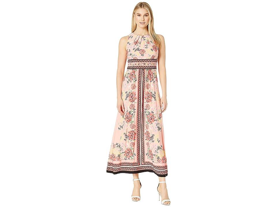 London Times Pleated Neck Maxi Dress (Salmon/Coral) Women