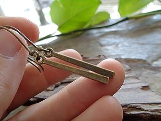 PENDIENTES DE BARRA DE BRONCE LARGO Pendientes minimalistas en ganchos largos