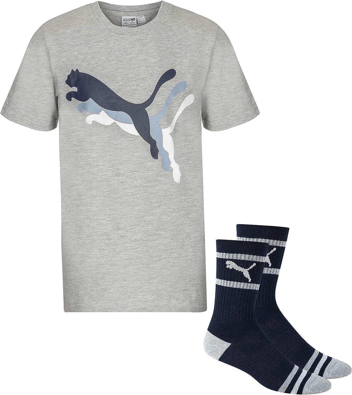 PUMA boys Graphic Big Cat Logo Tee & Crew Sock Set