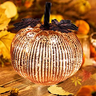 Keepax Halloween Pumpkin Lantern Light, 5.5Inch Lantern Decorative Pumpkins Mercury Glass Decor Fall Thanksgiving Decorations Led Timer Candles
