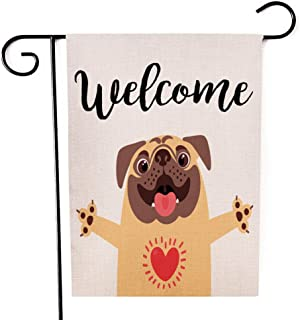 Yileqi Welcome Cute Dog Garden Flag Burlap Vertical Readable Double Sided Small Flag Yard Outdoor Decoration 12 x 18 Inche...
