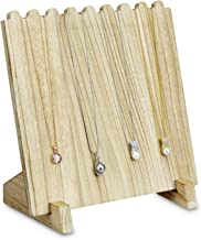 Mooca Wooden Plank Necklace Jewelry Display Stand for 8 Necklaces, Oak Color
