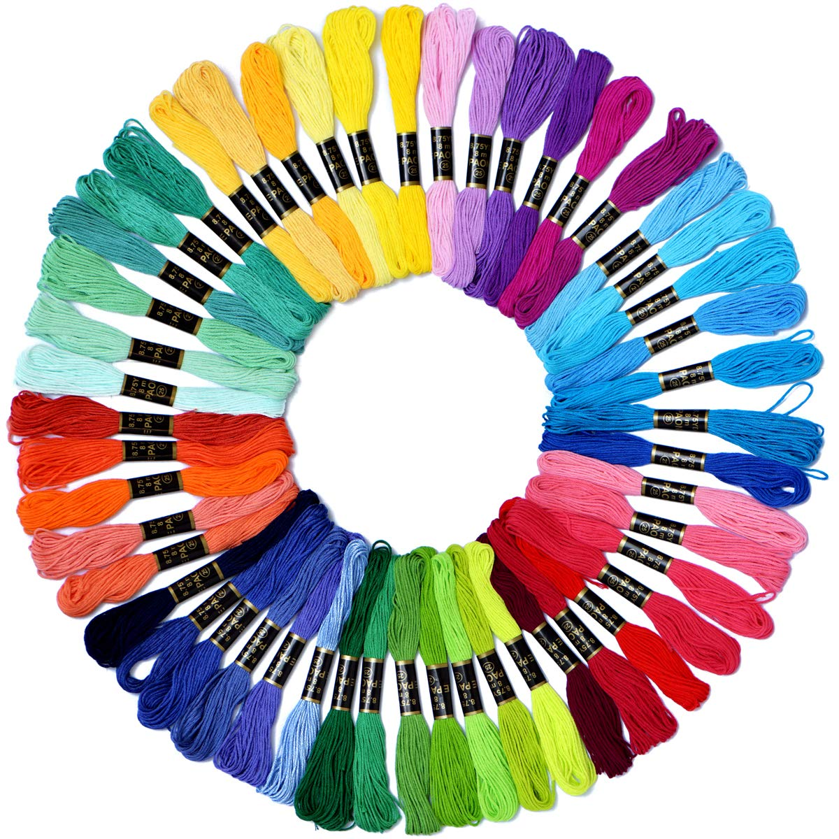 B/&S FEEL Embroidery Floss Premium Rainbow Color Cross Stitch Threads Friendship Bracelets Floss Crafts Floss 100 Skeins Per Pack