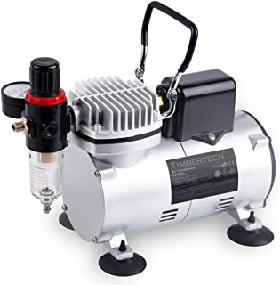 TIMBERTECH Upgraded Basic Airbrush Compressor ABPST07, Quiet Powerful 1/6hp Portable Air Compressor Airbrush Paint System ...