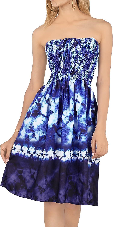 LA LEELA Women's One Size Beach Tube Dress Casual Loose Swing Sundress Printed A