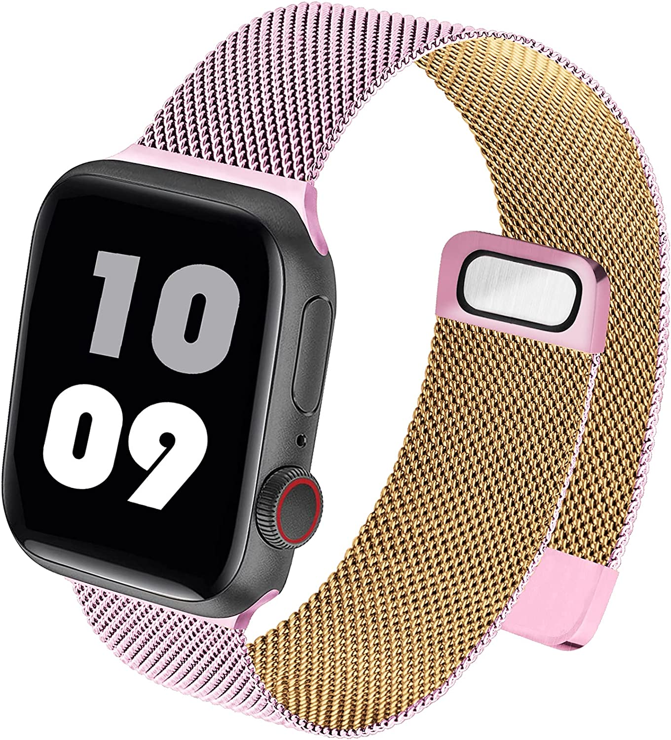 Metal Mesh Stainless Steel Compatible with Apple Watch Band 38mm 40mm 42mm 44mm, Sport Wristband Loop Magnetic Closure for Women Men Compatible with iWatch Series SE/6/5/4/3/2/1