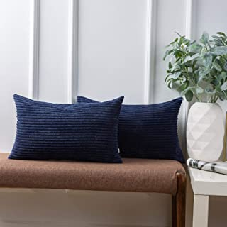 Ashler Pack of 2 Corduroy Soft Velvet Striped Solid Square Throw Pillow Covers Cushion Cases 12 x 20 Inch Navy Blue