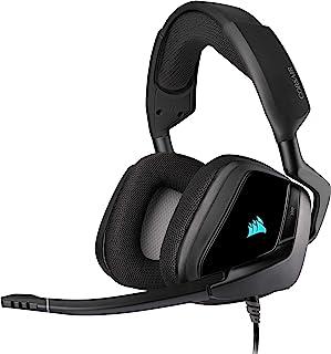 Corsair Void Elite RGB USB Auriculares para Juegos (7.1 Sonido Envolvente, Micrófono omnidireccional, Personalizable Iluminación, Microfibra de Rejilla Almohadillas, Construcción Aluminio) Negro