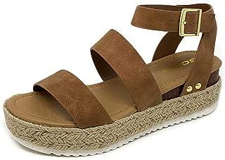 Top Shoe Bryce Open Toe Buckle Ankle Strap Espadrilles Flatform Wedge Casual Sandal